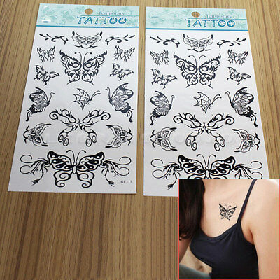2Sheets Temporary Tattoos Black Butterfly Fake Tatoo Sticker Body Art Waterproof