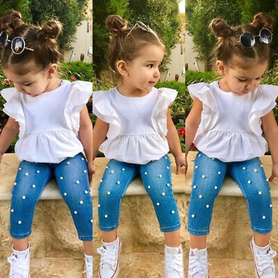 Toddler Kids Baby Girl 100% Cotton Top T-shirt Denim Pearl Pants Outfits Clothes