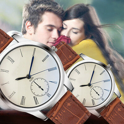 Fashion Women Mens Watch Analog Casual Brown Leather Strap Couple Wrist Watches