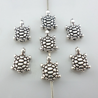 20/40pcs Tibetan Silver Sea Turtle/Tortoise Charm Loose Spacer Beads 8x10mm