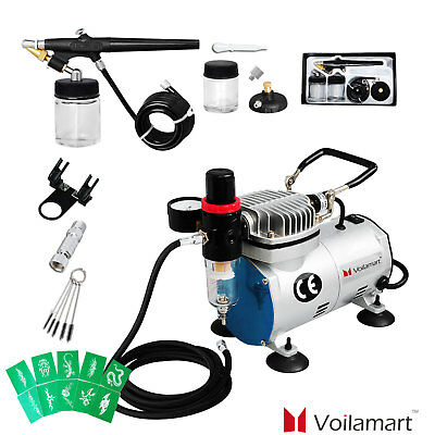 Airbrush Compressor Kit Spray Gun Set 22CC Ink Cup Paint 1/6hp 0.8MM Air Brush