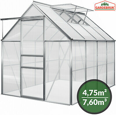 DEUBA Greenhouse Polycarbonate Aluminium Grow Plants Growhouse 7.6m³ Large New
