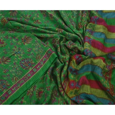 Sanskriti Vintage Green Saree 100% Pure Silk Printed Sari Craft Soft Fabric