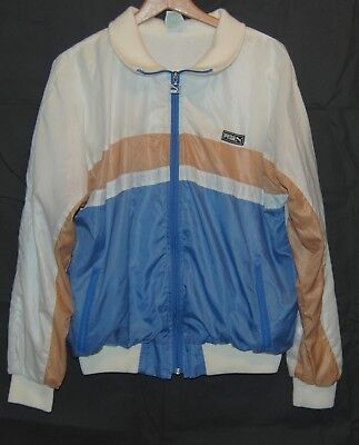 Vtg 80s Puma Windbreaker Jacket Coat Cream Blue Brown Stripe Zipper Beat Street