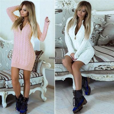 New Fashion Women Casual V-neck Long Sleeve Knitted Dress EH7E