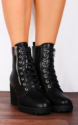 Military Block High Cleated Heeled Fashion Lace Ups Ankle Boots Heels Shoes Size