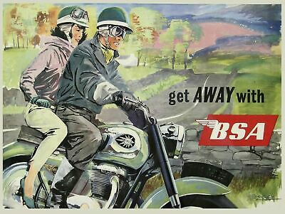 BSA Motorcycle Plaque Retro Art  printed metal sign vintage sign tin