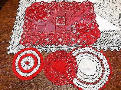 """#341  Lot of 4 Vintage Handmade Doilies ~Red and White  """"Valentine's Day"""""""