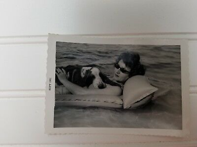 1961 Basset Hound Dog Photo Picture BEACH DAY Floating in MIAMI Stylish Woman ~~