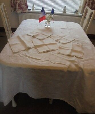 """very large Vintage French linen/damask tablecloth 6 napkins 78""""x 78"""""""