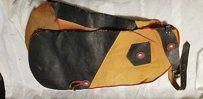 Vintage Childs Leather Cowboy Chaps top hand togs. 1950s. Western texas