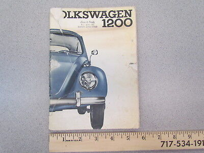 Vintage 1964 Volkswagen VW 1200 Beetle Bug car car owner's manual