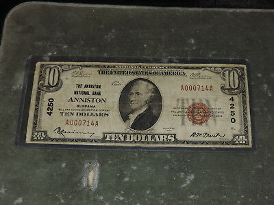 1929 United States 10-Dollar National Currency Note - Anniston, AL