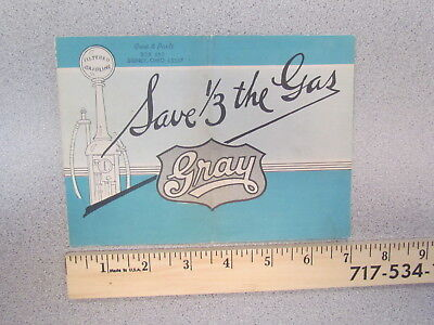 "Vintage 1923 Gray ""Save 1/3 the Gas"" 1920s car brochure / sales literature"
