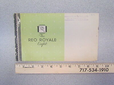 Vintage 1933 Reo Royale Eight (8) car dealer brochure / 1930s sales literature