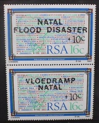 SOUTH AFRICA 1987 Natal Flood Relief Fund SURCHARGE. Set of 2. MNH. SG629/630.