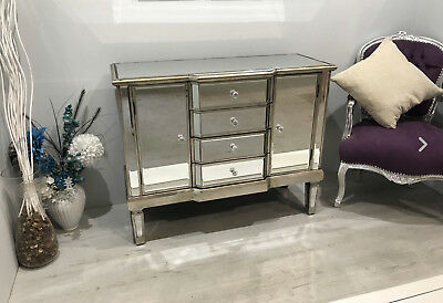 Venetian Mirrored Sideboard/ Chest/ Cabinet With Distressed Antique Silver Trim