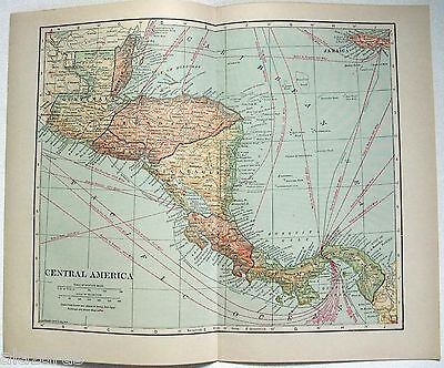 Original 1923 Map of Central America by L. L. Poates. Vintage