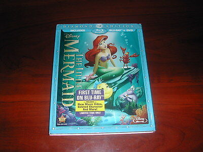 The Little Mermaid (Blu-ray/DVD, 2013, 2-Disc Set, Diamond Edition) Disney