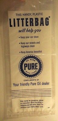 Pure Gas Station Promo Litterbag Compliments of Your Friendly Pure Oil Dealer