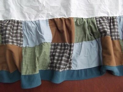 cocalo baby boy crib bed dust ruffle skirt patchwork quilt brn blue plaid NEW