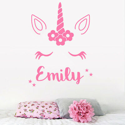 Personalised Name Unicorn Wall Art Girls Room Children's Kids Sticker Vinyl
