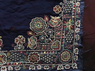 """Authentic French antique 1920s ART DECO Stunning hand beaded work 18 1/2"""" by13.5"""