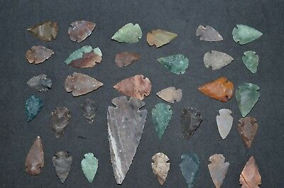 """33 PC Flint Arrowhead Ohio Collection Points 1-3"""" Spear Bow Stone Hunting 2775"""