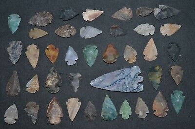 """39 PC Flint Arrowhead Ohio Collection Points 1-3"""" Spear Bow Stone Hunting 2774"""