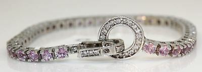 Gorgeous 14K White Gold Bracelet With 4.25 Ctw Pink Sapphire And Diamonds #f82