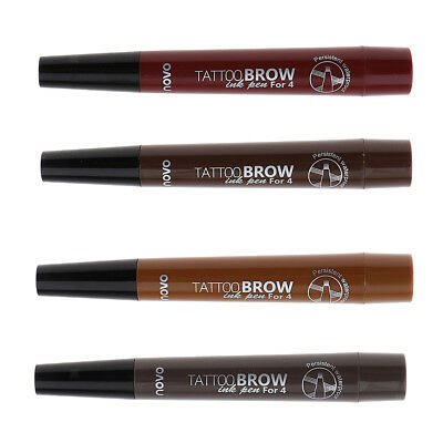Tattoo Eyebrow Pen with Four Tip Long-lasting Waterproof Brow Tint Gel Color