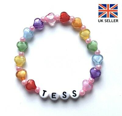 Personalised New Baby Rainbow Hear Pearl Bracelet, Birthday/party Bag - Any Name