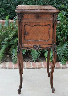 Antique French Rococo Mahogany Marble Top Side Cabinet End Table Nightstand