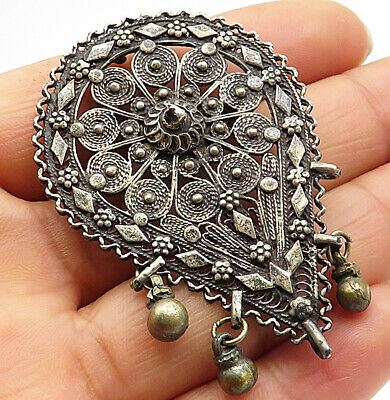 925 Sterling Silver- Vintage Antique Large Victorian Teardrop Brooch Pin- BP2309