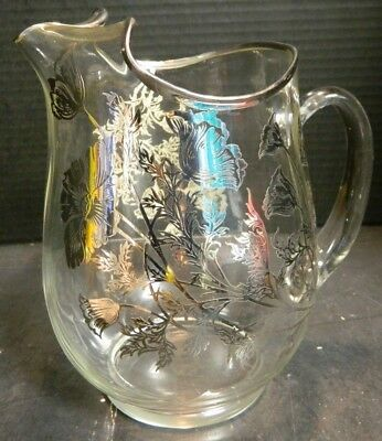 Vintage Beautiful Sterling Silver Overlay Glass Pitcher w/ Ice Lip Excellent Con