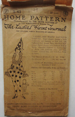c1920-1930 LADIES HOME JOURNAL Pattern #S-63 ART DECO HARLEQUIN COSTUME size 36