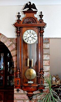 "Antique German 'Gustav Becker' ""D.R.P."" Twin Weight Vienna Wall Clock Circa 1870"