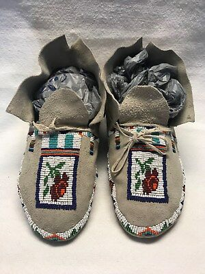 Native American Plains BuckskinLeather Partially Beaded Sinew Moccasins