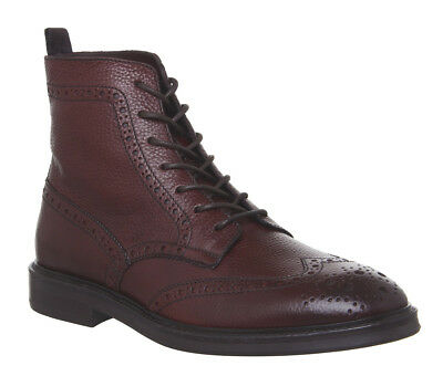 Mens Poste Idris Brogue Boots Wine Leather Boots