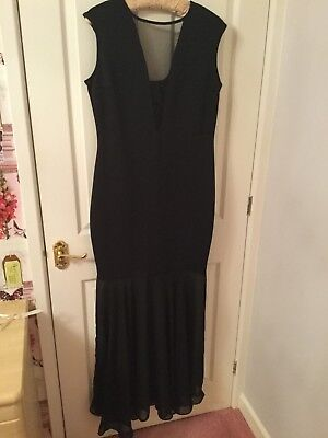 BLACK MAXI DRESS SIZE 16 by Krisp, fitted shape with sheer front panel and frill