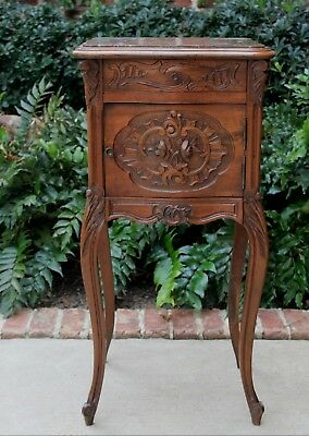 Antique French Country Rococo Oak Marble Top Side Cabinet End Table Nightstand