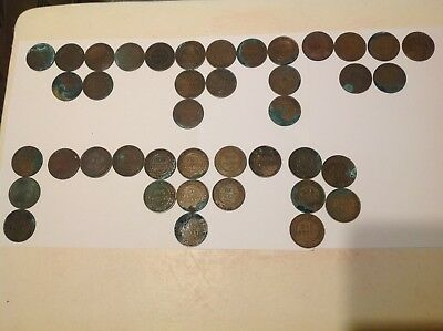 41 Australian Pennies, 1911-1936. None - 1925,26,29,30. Uncleaned, As Found.
