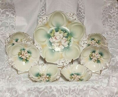 Antique Porcelain Berry Bowl Set R S Prussia STUNNING Hand Painted