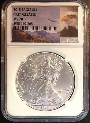 """2015 $1 (1oz) American Silver Eagle - NGC MS70 30th Anniversary """"First Releases"""""""