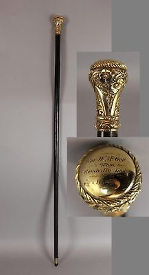 Antique 19thC Fraternal Knights of Pythias Engraved Gold Filled Gentlemans Cane
