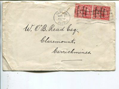 Ireland 2x1p on cover 1922, tear/fold in cover