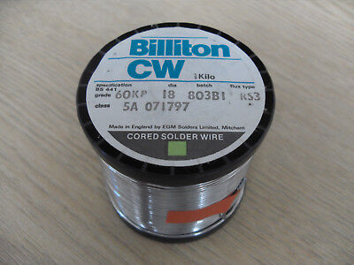 SOLDER WIRE Billiton CW 60/40 1.2mm 1.22mm 500G 60KP RS3 Multicore, Frys Metals