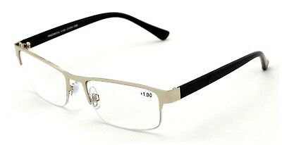 Metal Rectangle Progressive Clear Lens No Line Reading Glasses Tri-Focal Reader