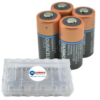 4 Pack Duracell CR123A Lithium Batteries 3V CR123 DL123 -  w/ Battery Case