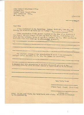 World War 2 Fort Dix.  Separation instructions and blank forms.